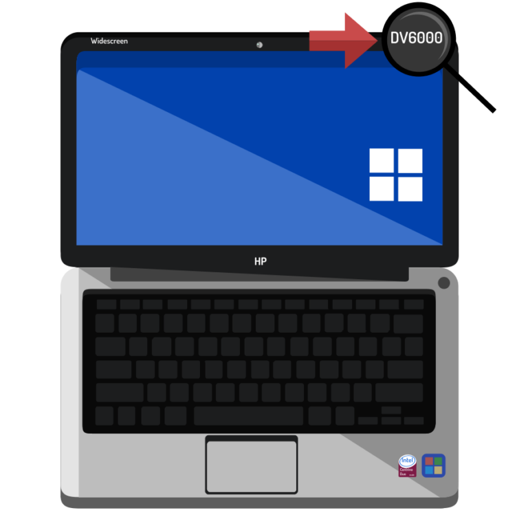 Vector art styled opened laptop. The model number has been circled and arrowed top right of the screen.