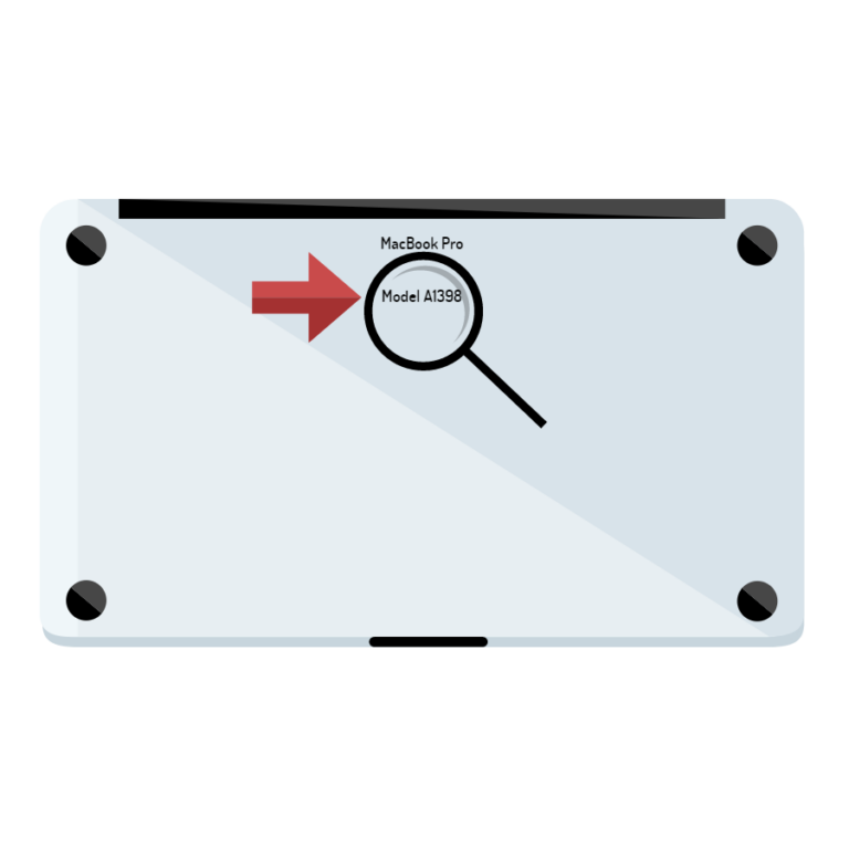 Vector art styled closed Macbook Pro. The model number has been circled and arrowed at the top center.