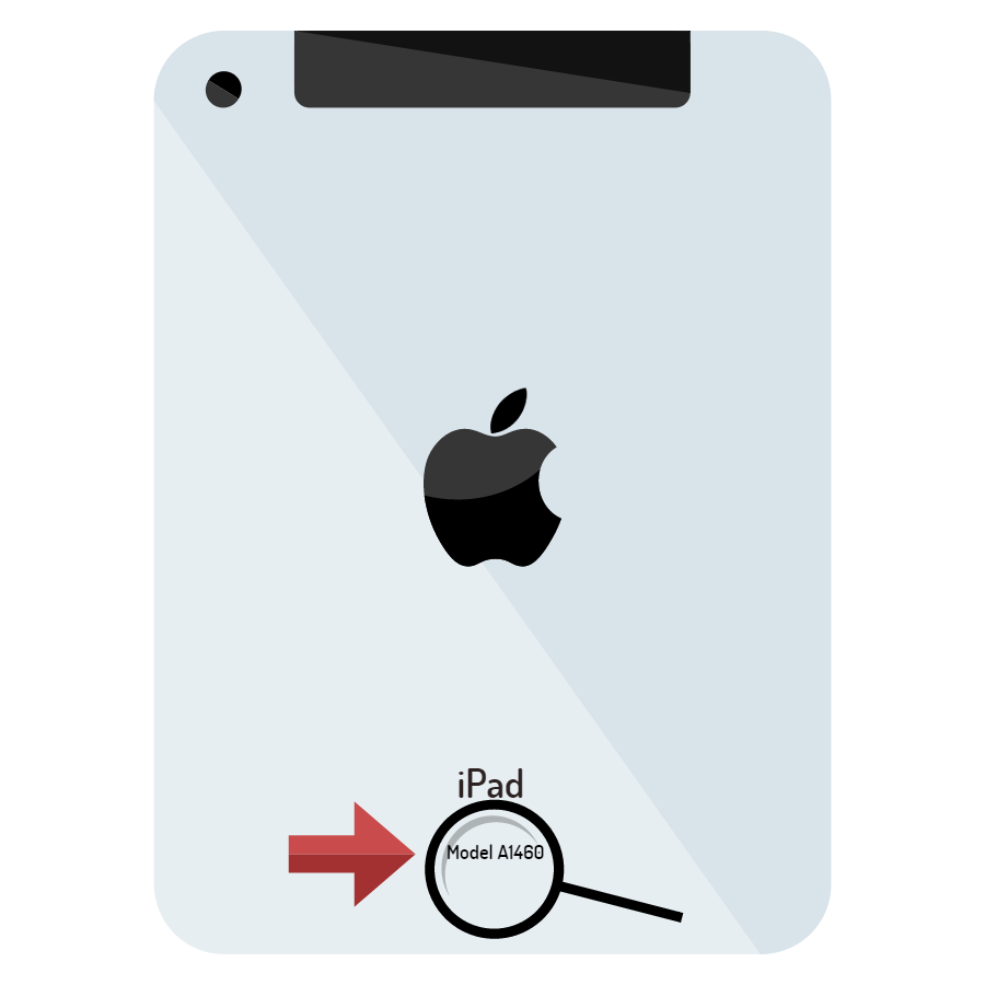 Image of the back of a silver Apple iPad, with a magnifying glass and red arrow pointing to the part number on the bottom