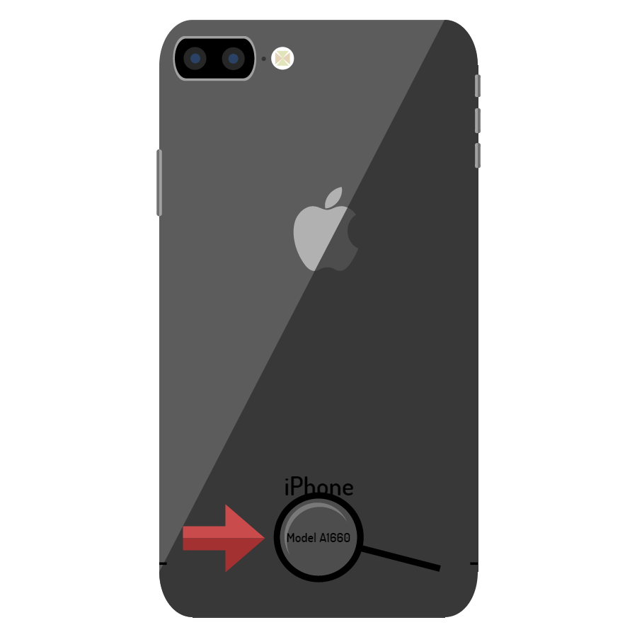 An image of the back of a black Apple iPhone. A magnifying glass and red arrow point toward the part number on the bottom
