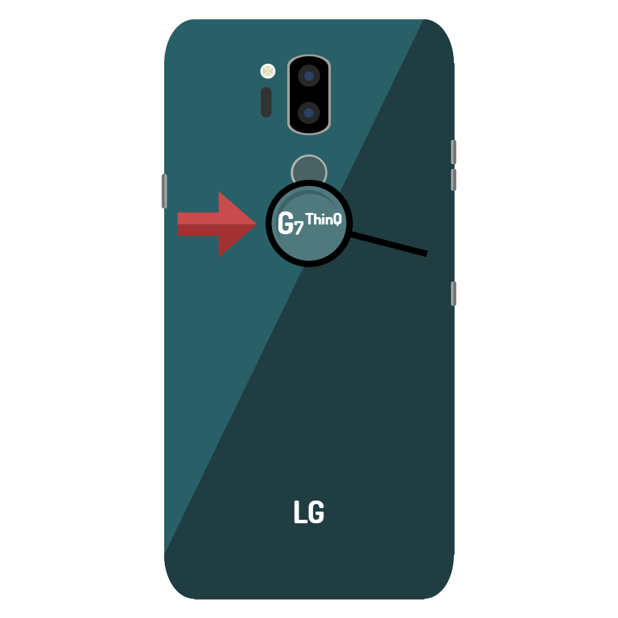 Image of the back of a green LG Smartphone. A magnifying glass and red arrow point toward the part number near the top