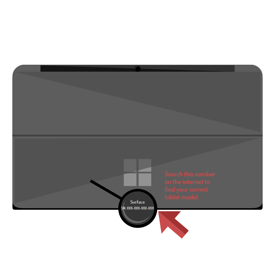 Image of the back of a Microsoft Surface tablet. A magnifying glass and red arrow point toward the part number under the flap