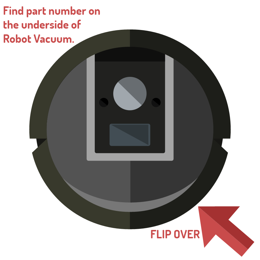 Image of the top of a robot vaccum. A red arrow is telling you to flip over the device to locate the part number