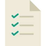 A vector art piece of paper with three green checkmarks on it suggesting a checklist