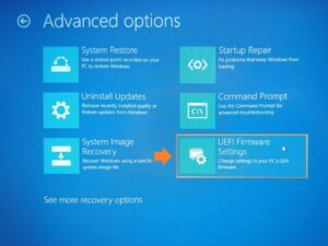 Find Laptop model - Screenshot of Microsoft Boot menu Advanced options. UEFI Firmware Settings has been circled and highlighted.