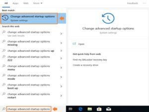 Find Laptop model - Screenshot of Microsoft Windows advanced startup options search.